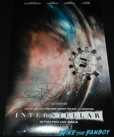 Anne Hathaway jessica Chastain signed interstellar poster rare promo