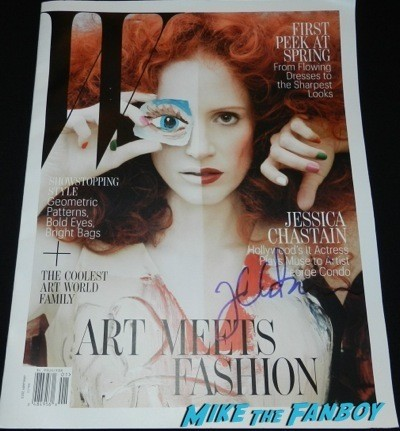 Jessica Chastain signed autograph w magazine cover signing autographs fan photo selfie rare 8
