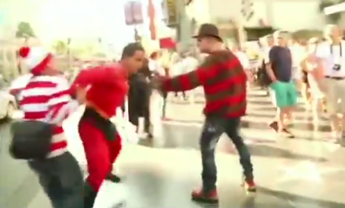hollywood costumed character brawl