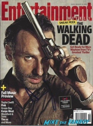 andrew lincoln signed autograph entertainment weekly magazine