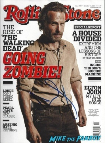 andrew lincoln signed autograph rolling stone magazine