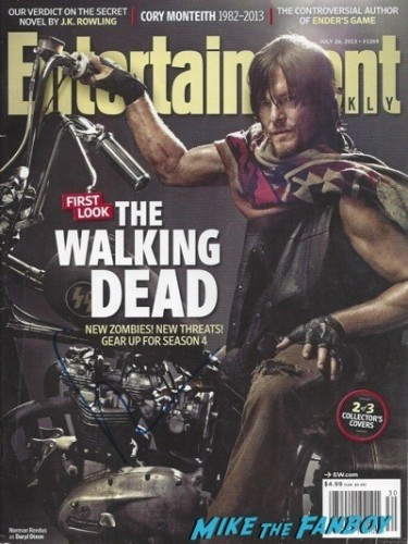 The Walking Dead norman reedus signed autograph enertainment weekly magazine