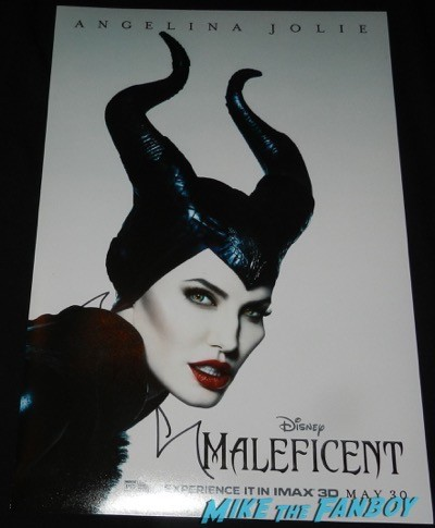 Angelina Jolie signed autograph maleficent mini poster signing autographs unbroken q and a 17