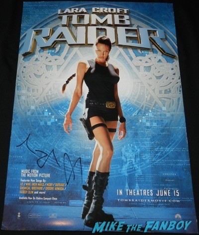 Angelina Jolie signed autograph tomb raider mini poster signing autographs unbroken q and a 17