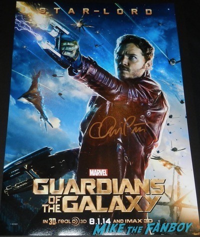 Chris Pratt signed autograph star lord guardians of the galaxy mini poster