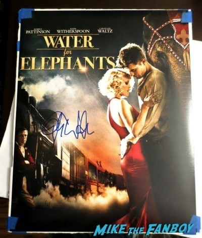 Christoph Waltz signed autograph water of elephants mini poster Signing Autographs Jimmy Kimmel Live 2014 4