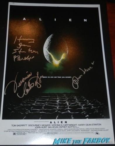 Harry Dean Stanton  signed alien mini poster