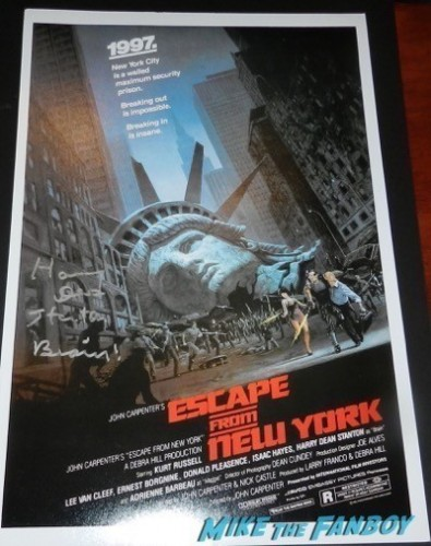 Harry Dean Stanton  signed escape from New York mini poster