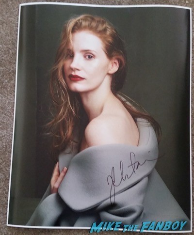 Jessica Chastain signed autograph photo rare fan photo signing autographs signed1