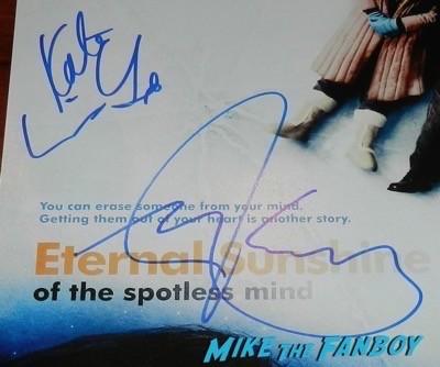 Jim Carrey kate winslet signed autograph eternal sunshine of the spotless mind poster signing autographs jimmy kimmel live 2014  1