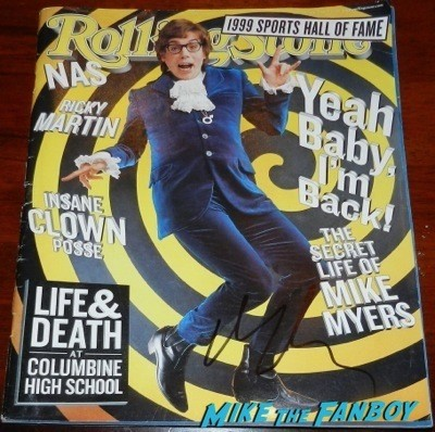 Mike Myers signed autograph austin powers rolling stone magazine mini poster Signing Autographs Jimmy Kimmel Live 2014 11