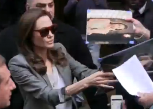 Angelina Jolie signing autographs NYC Paley Center