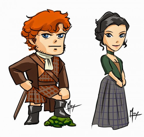 outlander Chibi Jamie and Claire