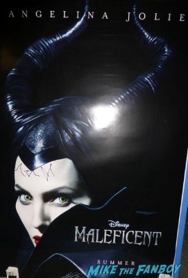 Angelina Jolie signed autograph maleficent poster Signing autographs unbroken q and a 3