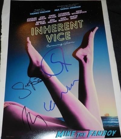 Inherent Vice signed autograph mini poster josh brolin joaquin phoenix