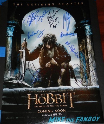 The Hobbit: The Battle of the Five Armies signed poster rare los angeles premiere signing autographs peter jackson 68