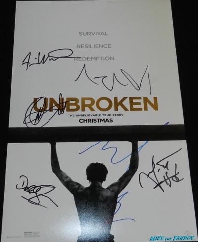 Unbroken cast signed poster angelina jolie garrett hedlund 1