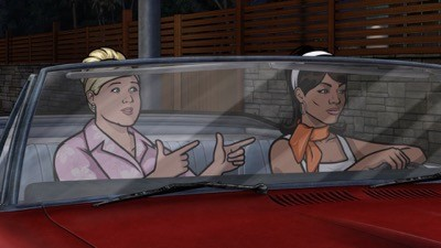 "ARCHER: Episode 2, Season 5 ""Archer Vice: A Kiss While Dying"""" (airing Monday, January 20, 10:00 pm e/p). Archer, Pam and Lana travel to Miami to visit some old friends. It's a fondue party! Written by Adam Reed. Pictured: (L-R) Pam Poovey (voice of Amber Nash), Lana Kane (voice of Aisha Tyler). FX Network"