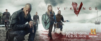 Vikings season 3 Floki (Gustaf Skarsgård), Ragnar Lothbrok (Travis Fimmel), Bjorn Lothbrok (Alexander Ludwig), Lagertha (Katheryn Winnick), Rollo (Clive Standen)