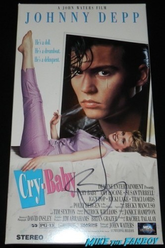 cry baby signed autograph vhs promo mobile counter stand signed johnny depp