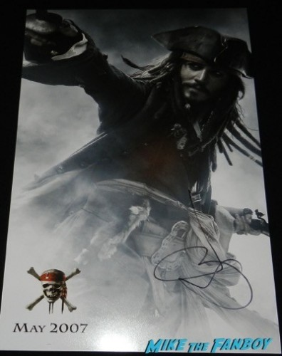pirates mini poster signed autograph johnny depp