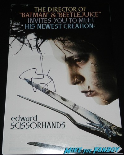 edward scissorhands mini poster signed autograph johnny depp