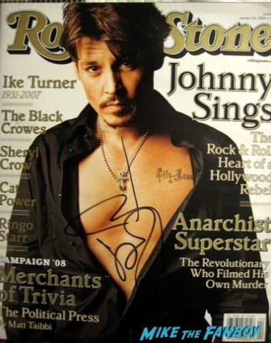 johnny depp signed autograph rolling stone magazine