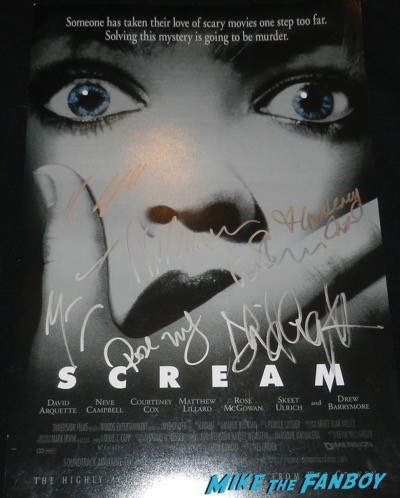 scream cast signed mini poster courteney cox liev schrieber