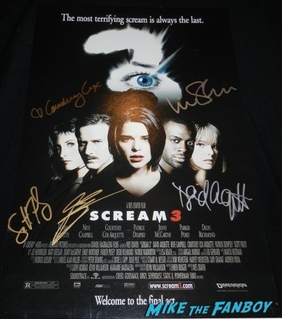 scream 3 cast signed mini poster courteney cox liev schrieber