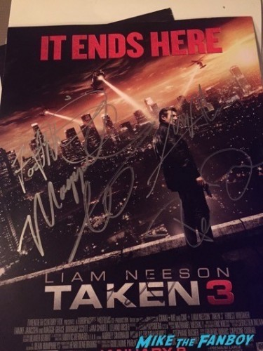 taken 3 cast signed poster rare promo fan event meeting liam neeson famke janssen 2