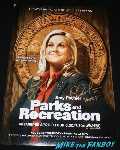 parks and recreation signed autograph poster