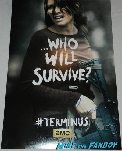 lauren cohan signed walking dead who will survive poster
