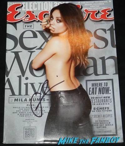 mila kunis signed esquire magazine