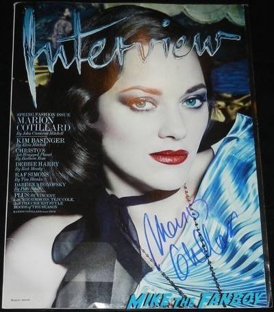 Marion Cotillard signed interview Magazine cover