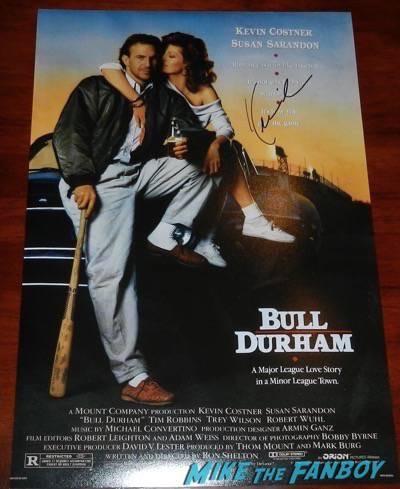 kevin costner signed bull durham mini poster
