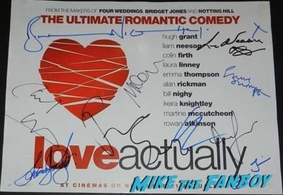 Laura Linney signed autograph love actually uk quad mini poster