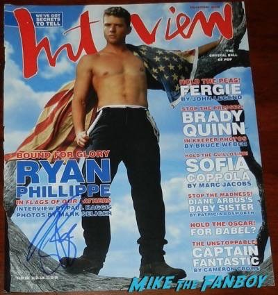 Ryan Phillippe signed autograph interview magazine 2002 shirtless jimmy kimmel live signing autographs 2015 16