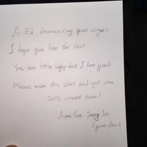 ed sheeran fan letter