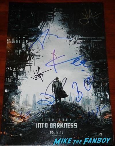 star trek cast signed poster 2009 anton yelchin chris pine