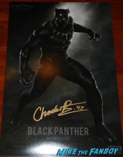 chadwick boseman black panther signed mini poster Avengers: Age of ultron world premiere photos signing autographs 28