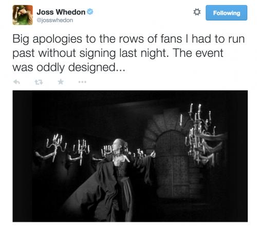 joss whedon tweet avengers premiere