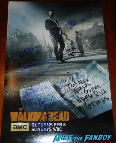 The Walking Dead signed autograph season 5 promo poster rare