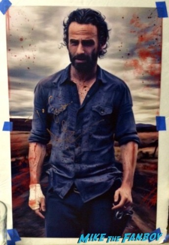 andrew lincoln signed autograph art print