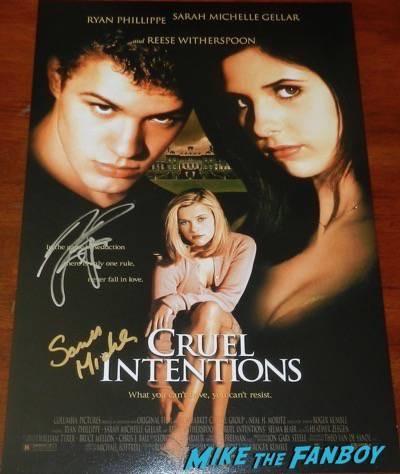 sarah michelle gellar signed cruel intentions mini poster ryan phillipe