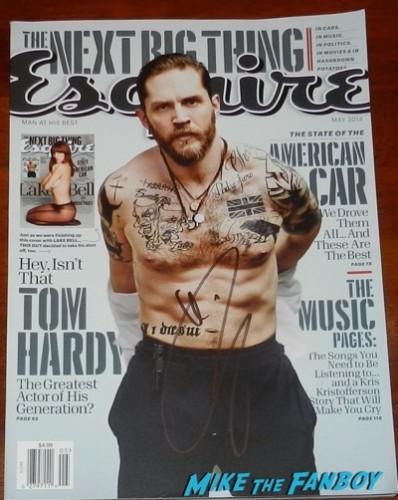 tom hardy signed esquire magazine autograph