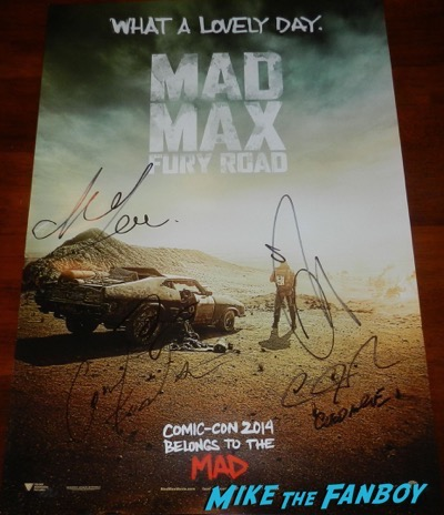 Mad Max Fury Road signed autograph mini poster tom hardy