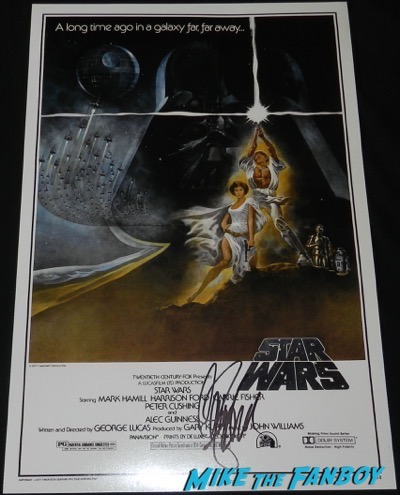 carrie fisher signed star wars mini poster