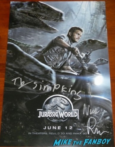 Ty Simpkins And Nick Robinson signed jurassic world poster
