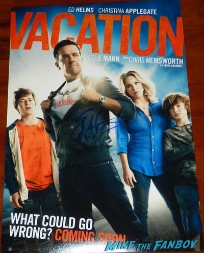 ed helms signed autograph vacation poster