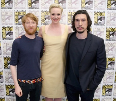 SAN DIEGO, CA - JULY 10: (L-R) Actors Domhnall Gleeson, Gwendoline Christie and Adam Driver at the Hall H Panel for `Star Wars: The Force Awakens` during Comic-Con International 2015 at the San Diego Convention Center on July 10, 2015 in San Diego, California.  (Photo by Jesse Grant/Getty Images for Disney) *** Local Caption *** Domhnall Gleeson; Gwendoline Christie; Adam Driver